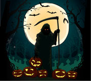 Spirit of death holding the spooky pumpking Stock Photos