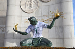 The Spirit of Detroit in Detroit, MI with MSU shirt Stock Photo