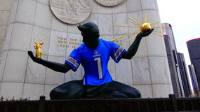 The Spirit of Detroit. Located in front of the Coleman A. Young Municipal Center. The Spirit of Detroit is adorned with the Detroit Lions Jersey on the day of 1/ Royalty Free Stock Image