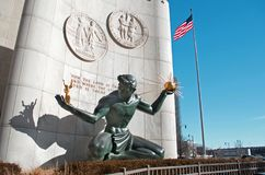 Spirit of Detroit Statue in Downtown Detroit. DETROIT -JANUARY 26, 2018. Spirit of Detroit Statue in Downtown Detroit, January 26, 2018 Royalty Free Stock Image