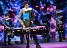 Spirit Drum and Bugle Corps ensemble play at Microsoft Convergence conference opening Stock Image