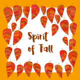 Spirit of fall. Template Design poster spirit of fall. Autumnal cute cartoon frame. autumn leaf wreath. Colorful leaves background border. Design idea for Stock Images