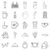 Spirit icons set, outline style Stock Photo