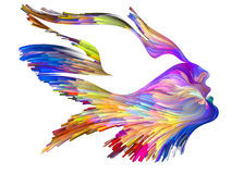 Spirit of Imagination. Bird of Mind series. Design made of woman and bird profile executed with colorful paint to serve as backdrop for projects related to Royalty Free Stock Images