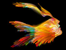 Spirit of Imagination. Bird of Mind series. Design made of woman and bird profile executed with colorful paint to serve as backdrop for projects related to Royalty Free Stock Photography