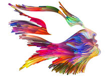 Spirit of Imagination. Bird of Mind series. Design made of woman and bird profile executed with colorful paint to serve as backdrop for projects related to Royalty Free Stock Photo