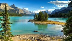 Spirit Isalnd in Maligne Lake Stock Photos