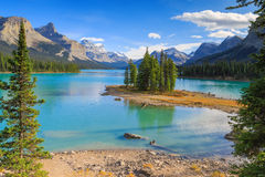 Spirit Isalnd in Maligne Lake Royalty Free Stock Photos