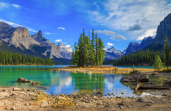Spirit Isalnd in Maligne Lake. Maligne Lake in Jasper natioanal park, Alberta, Canada royalty free stock photo