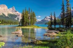 Spirit island in Jasper National Park, Canada Royalty Free Stock Image