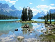 Spirit Island at Jasper National Park Royalty Free Stock Image