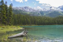 Spirit Island on Lake Maligne in Canada Stock Photo