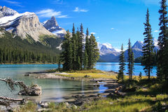 Spirit Island on the Maligne Lake. At the Jasper National Park in Canada stock photography