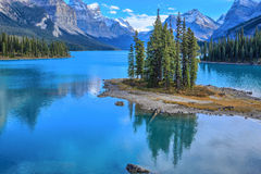 Spirit Island in Maligne Lake, Alberta, Canada Royalty Free Stock Images