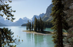 Spirit Island Maligne Lake Alberta. Spirit Island Jasper National park Alberta Canada Stock Photo