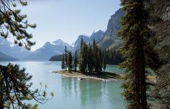 Spirit Island Maligne Lake Alberta Stock Photo