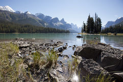 Spirit Island Maligne Lake Alberta. Spirit Island Jasper National park Alberta Canada Royalty Free Stock Image