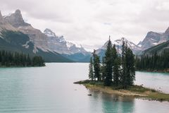 Spirit Island in Maligne Lake, Alberta. Canadian Rockies Royalty Free Stock Images