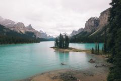 Spirit Island in Maligne Lake, Alberta. Canadian Rockies Royalty Free Stock Photos