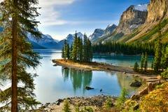 Spirit Island in Maligne Lake,Canada. Spirit Island in Maligne Lake, Jasper National Park, Alberta, Canada Stock Photo