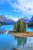 Spirit Island in Maligne Lake. Maligne Lake in Canadian Rockies Mountains in Jasper National Park, Alberta Royalty Free Stock Photography