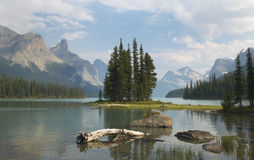 Spirit island in Maligne Lake. Jasper. Canada. Landscape Stock Photo