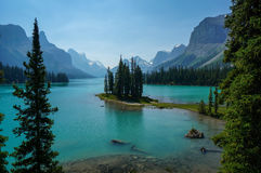 Spirit Island & Maligne Lake in Jasper National Park Royalty Free Stock Photography
