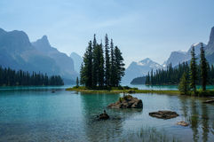 Spirit Island & Maligne Lake in Jasper National Park Royalty Free Stock Photo