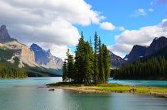 Spirit Island, Maligne Lake, Rocky Mountains, Canada. Spirit Island is a tiny tied island in Maligne Lake in the Rocky Mountains of Jasper National Park, Maligne Stock Photography