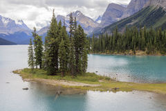 Spirit island on Maligne lake. In Canada Royalty Free Stock Photo