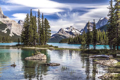 Spirit Island and the Mountains Stock Photography