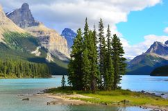 Spirit Island, Maligne Lake, Rocky Mountains, Canada. Spirit Island is a tiny tied island in Maligne Lake in the Rocky Mountains of Jasper National Park, Maligne Royalty Free Stock Image