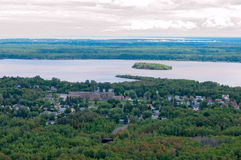 Spirit Lake and Island in Duluth Minnesota. Aerial of Morgan Park neighborhood and Spirit Lake surrounding Spirit Island in Duluth Minnesota Stock Photos