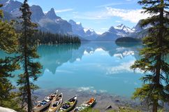 Maligne Lake. Spirit Island on Maligne Lake in Alberta, Canada Stock Photography