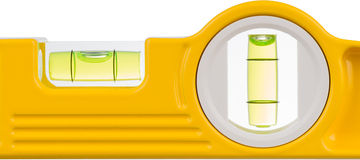 Spirit level. Detail of a spirit level against a white background Royalty Free Stock Photo