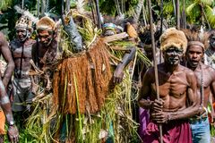 Spirit mask ceremony. YOUW VILLAGE, ATSY DISTRICT, ASMAT, NEW GUINEA, INDONESIA - MAY 23: The Village follows the ancestors embodied in spirit mask as they tour Stock Photos
