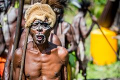 Spirit mask ceremony. YOUW VILLAGE, ATSY DISTRICT, ASMAT, NEW GUINEA, INDONESIA - MAY 23: The Village follows the ancestors embodied in spirit mask as they tour Stock Photography