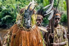 Spirit mask ceremony. YOUW VILLAGE, ATSY DISTRICT, ASMAT, NEW GUINEA, INDONESIA - MAY 23: The Village follows the ancestors embodied in spirit mask as they tour Royalty Free Stock Photos