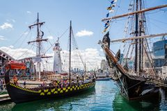 Tall Ship and Viking Longboat in Darling Harbour, Sydney, stock photos