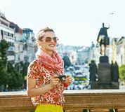 Woman on Vaclavske namesti in Prague with digital camera Royalty Free Stock Images