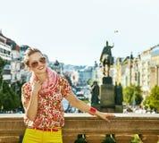 Happy woman on Vaclavske namesti in Prague Czech Republic Stock Image
