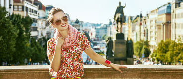 Happy woman on Vaclavske namesti in Prague Czech Republic Stock Photos