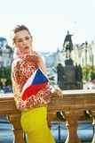 Woman with Czech flag on Wenceslas Square blowing air kiss Stock Photography