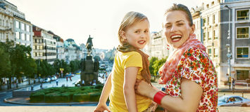Mother and daughter tourists on Vaclavske namesti in Prague Stock Photo