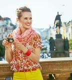 Tourist woman with digital camera on Vaclavske namesti, Prague Royalty Free Stock Photos