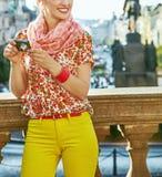 Tourist woman with digital camera on Vaclavxske namesti, Prague Royalty Free Stock Images