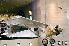 Spirit of St Louis aircraft from Charles Lindbergh at the Smiths. WASHINGTON D.C., USA - MAY 11, 2016: Spirit of St Louis aircraft, Charles Lindbergh at the Stock Photography