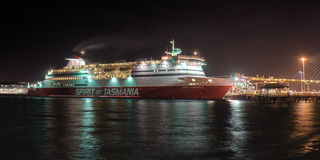 Spirit of Tasmania at night Stock Photo