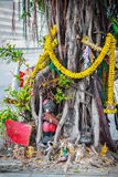 Spirit Thailand Banyan tree adorned with ribbons and spiritual a. Rtifacts Royalty Free Stock Image