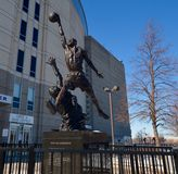The Spirit. This is a Winter picture of the statue of Michael Jordan located at the United Center in Chicago, Illinois. The bronze statue titled The Spirit was stock photos